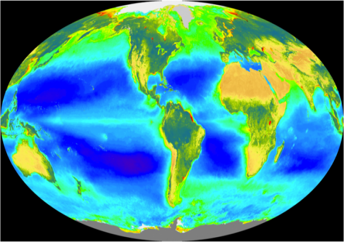 Global map to show distribution of photosynthetic activity of plankton