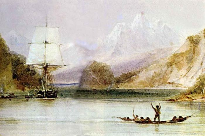 Artists rendering of the HMS Beagle off Tierra del Fuego, South America in 1833