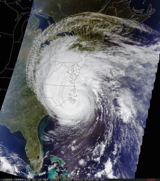 Satellite image of Hurricane Isabel washing ashore in North Carolina, September 2003