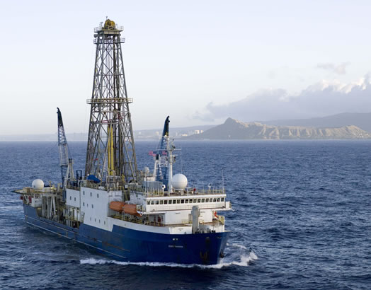 The JOIDES Resolution, the drillship operated by the Integrated Ocean Drilling Program to recover sediment cores from the deep ocean