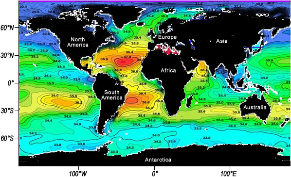 Colored world map of average sea surface salinity