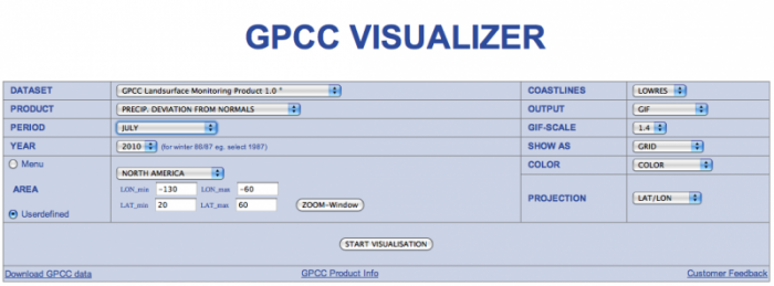 Screen shot of GPCC Visualizer