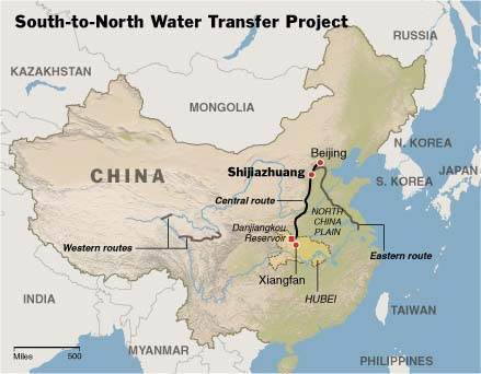 Map showing location of aqueducts designed to move water from south to north China