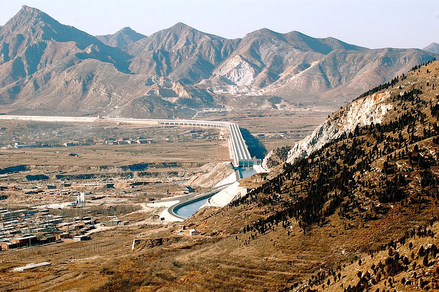 Construction of the largest aqueduct in China to move water from the south to the north of the country.