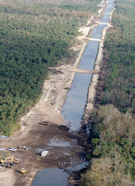 Prairie canal developed to divert water in the Everglades