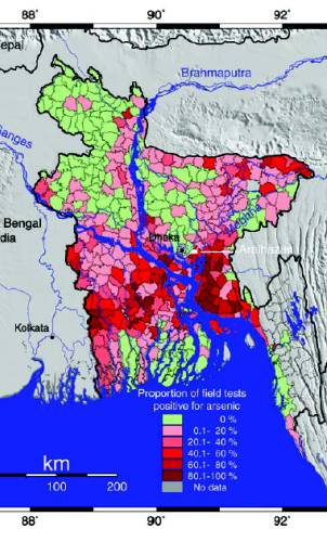 Choropleth map showing the percentage of wells in Bangladesh with high arsenic levels