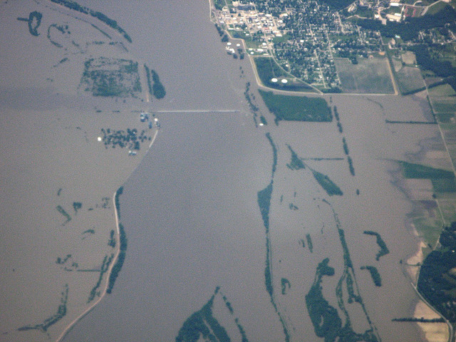 Aerial view of flooding of farmland by Mississippi river in Iowa