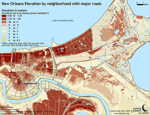 Map to show New Orleans elevation in meters by neighborhood