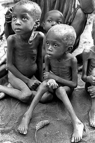 Very thin children during the Biafran conflict