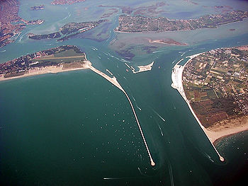 Aerial view of flood controls structure designed to protech Venice from rising seas.