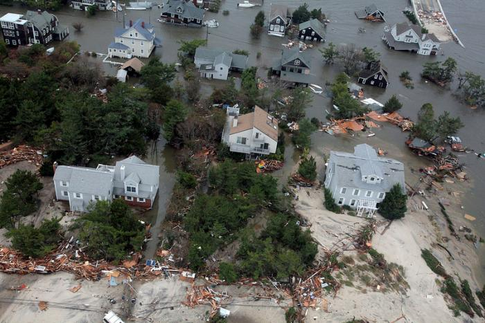 Aerial views of the damage caused by Hurricane Sandy to houses on the New Jersey coast