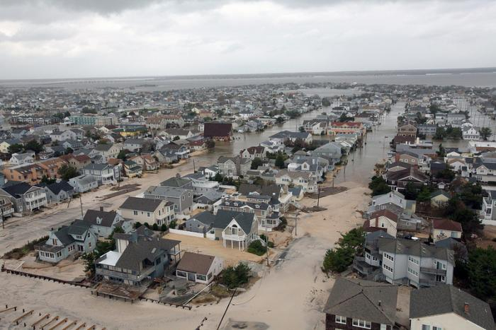 Aerial views of the damage caused by Hurricane Sandy to a neighborhood on the New Jersey coast