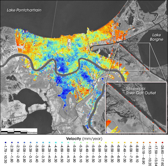 Map showing subsidence rates in New Orleans