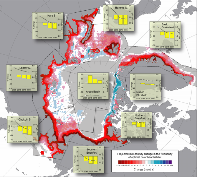 map showing projected changes in polar bear habitat from 2001 to 2010 and 2041 to 2050