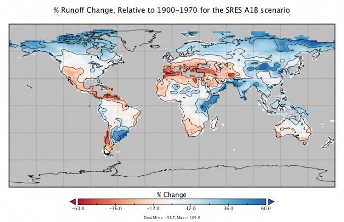 Map showing percentage of runoff change, relative to 1900-1970 for the SRES A1B scenario