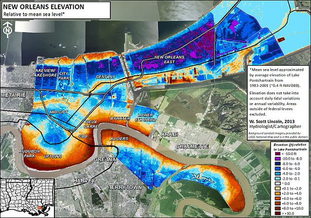 New Orleans Louisiana USA Coastal Processes Hazards And Society - Map of new orleans usa