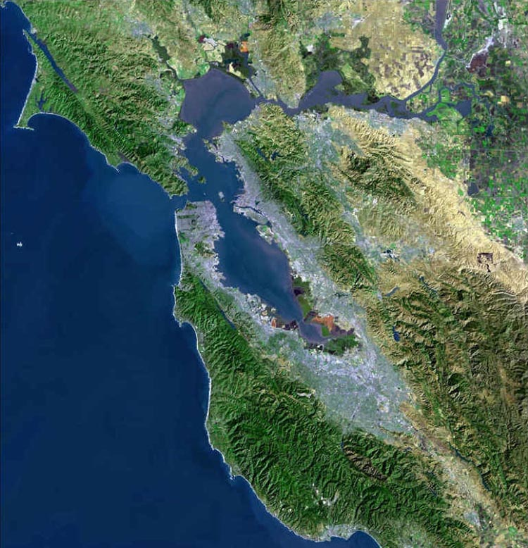 Satellite image of tectonic San Francisco Bay Estuary, formed by deformation and local subsidence of earths' crust.