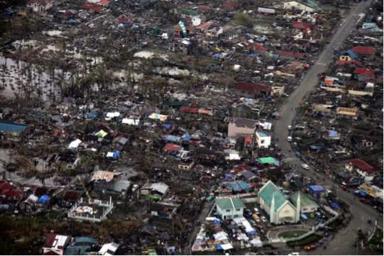 Aerial View of Tacloban, Philippines after Typhoon Haiyan, November 2013.