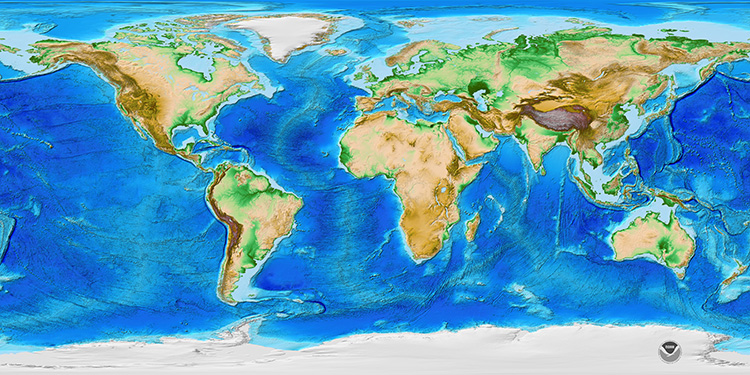 Global map of continents shows transition from sub aerial continents to deep ocean basins. See caption for more