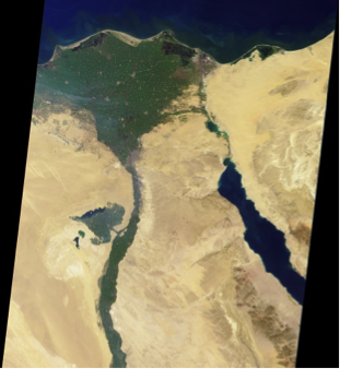 Satellite image of the Nile delta of Egypt.