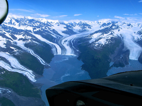 Aerial view of College Fjord in Prince William Sound of Alaska.