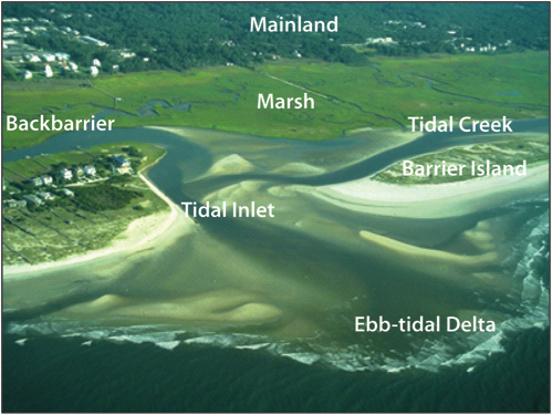 View of a tidal inlet system along the southern North Carolina coast, described in caption.