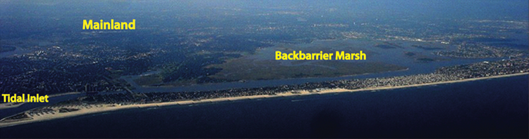 Aerial view of Long beach barrier island, New York U.S. described in caption.