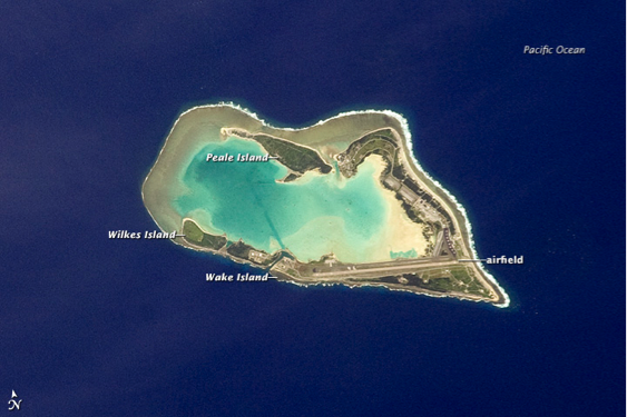 Wake Island atoll in central Pacific Ocean, located 4,000 km west-southwest of Hawaii, described in caption.