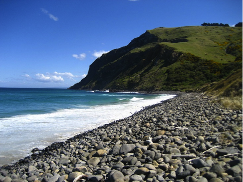 Cobble-boulder Beach on the southeast side of the Otago Peninsula, New Zealand, described in caption.