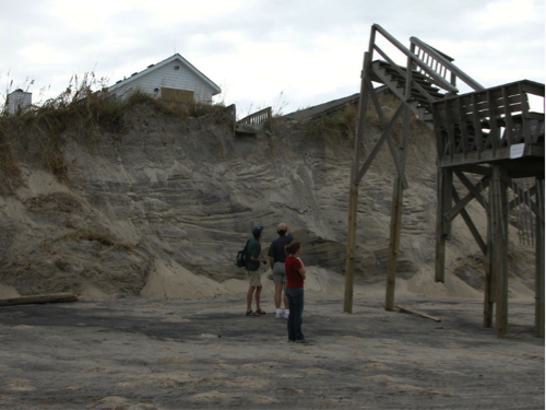 Erosional effects of Hurricane Isabel to a dune system House separated from its stairs down to the beach where the dune eroded