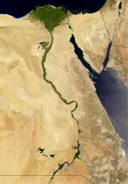 Oblique view from space of Nile River, Nile River Delta, and Sinai Peninsula, described in caption.