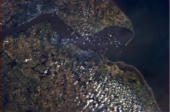Picture from space of Humber Estuary on north-east coast of Britain, described in caption