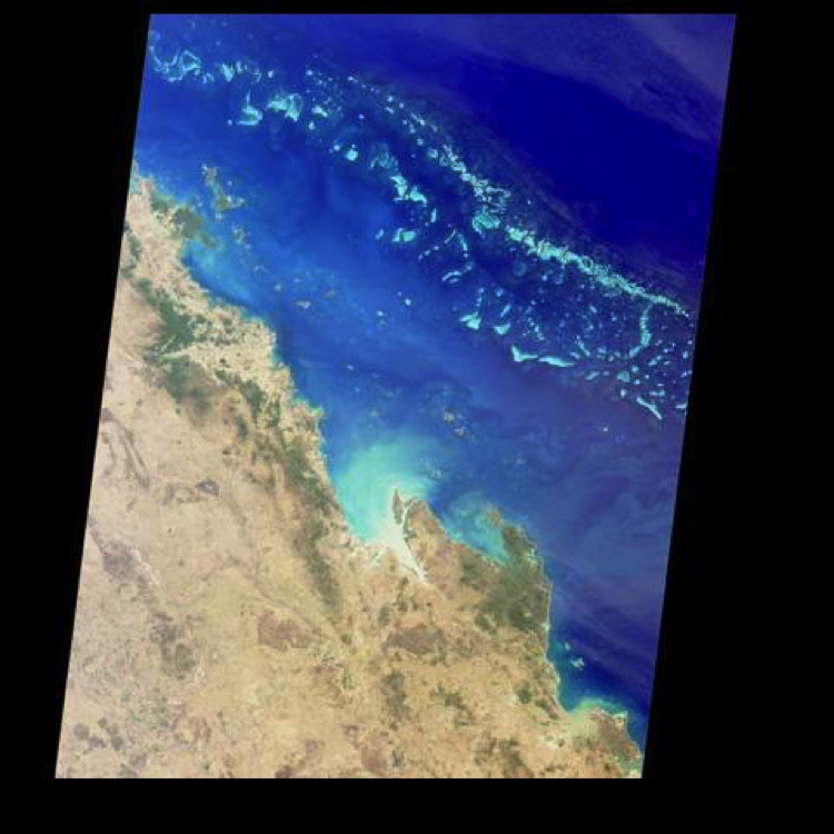Image from space of Great Barrier Reef offshore of northeastern Australia, described in caption.