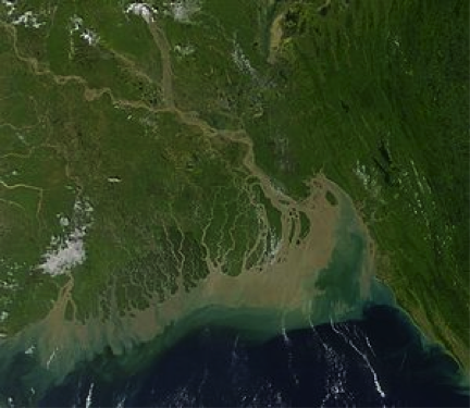 Satellite image of South-Asia Ganges-Brahmaputra delta consisting of Bangladesh and state of West Bengal, India, described in caption.