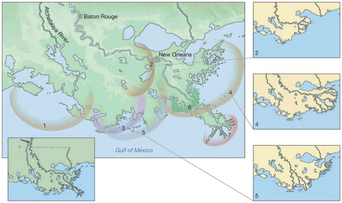 Map of Mississippi River delta growth over time. 7 different areas of growth described in caption