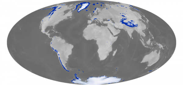 Map of the earth with glacier deposits. US north west, andes mountains, himalayas, greenland, and the poles