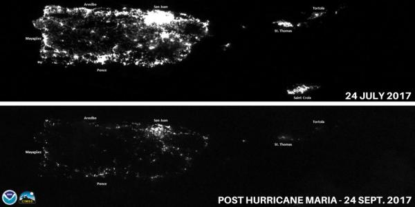 Map of electrical power: 24 July 2017 (pre-Hurricane Maria) lots of light & 24 September (post-Hurricane Maria) very little light
