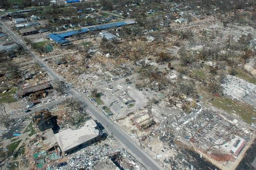 Destroyed businesses and municipal buildings from Hurricane Katrina