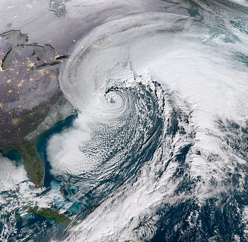 Satellite view of Bomb Cyclone of 2018