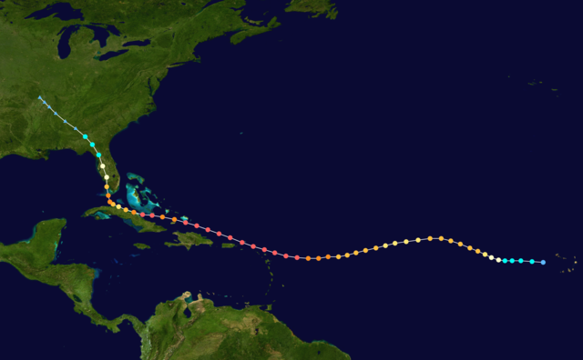 Illustration of Hurricane Irma's path from open ocean, north of dominica and up the west coast of florida
