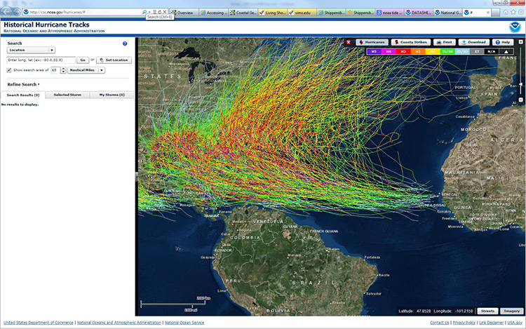 Screen shot of NOAA's Historical Hurricane Tracks server. Many lines representing hurricanes coming all the way up the east coast
