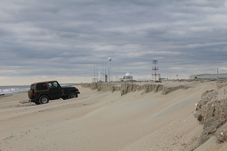Hurricane Sandy storm scarp produced by beach erosion at Wallops Island