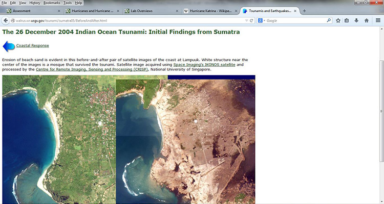Screen capture from USGS showing Lampuuk on island of Sumatra before and after Banda Aceh earthquake see caption