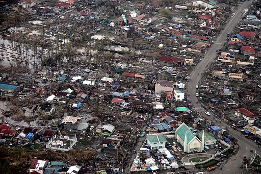 Aerial view of massive destruction in Tacloban following Typhoon Haiyan