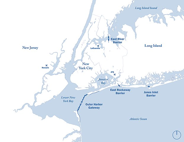 proposed surge barrier map (New York harbor)