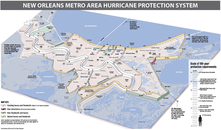 map of upgraded hurricane protection for New Orleans new flood walls and levels, and raised levels around the city