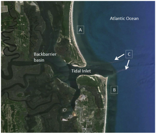 Inverted arc coastline @ top labeled a, straight coast labeled b @ bottom. Tidal inlet labeled C has sediment from a & b going out 2 sea