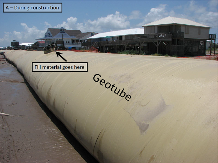 "Geotube or ""burrito"" as it is known is shown here after it was positioned and filled with sand in place."