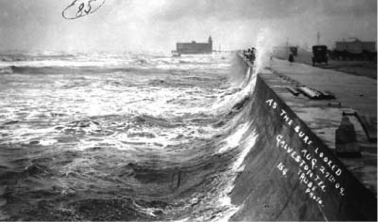 old black and white image of Waves breaking on Galveston, TX seawall.