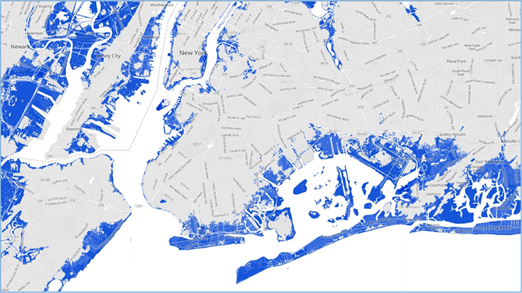 Map of area of inundation by Hurricane Sandy's storm surge. majority on coast of ocean and rivers